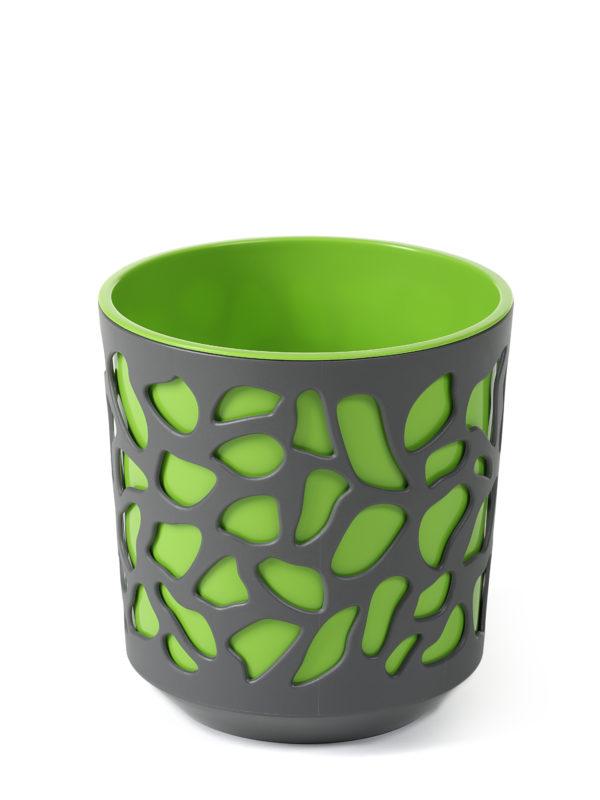 """КАШПО пластмассовое """"Duet"""" антрацит/ярко-зеленое 19 см (арт. LA761-22, код 227617)"""