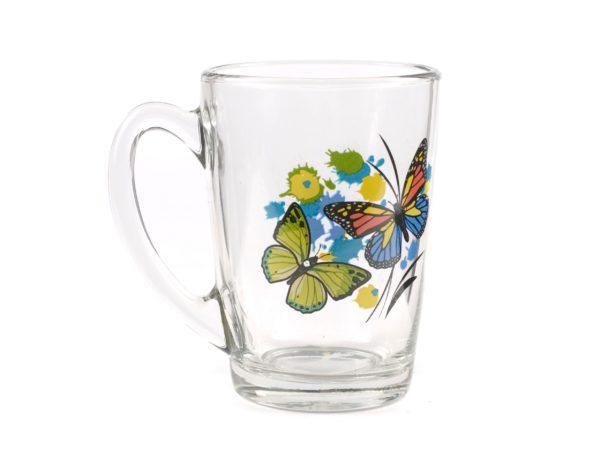 "КРУЖКА стеклянная ""Танец бабочек"" 300 мл (арт. 07с1334ДЗТБмикс, код 122189)"