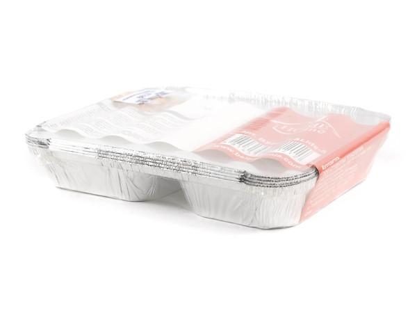 НАБОР БЛЮД ДЛЯ ЗАПЕКАНИЯ алюминиевых одноразовых с крышками 5 шт. 22,7*17,7*3 см (арт. BSPM2L&Lids-5, код 121212)