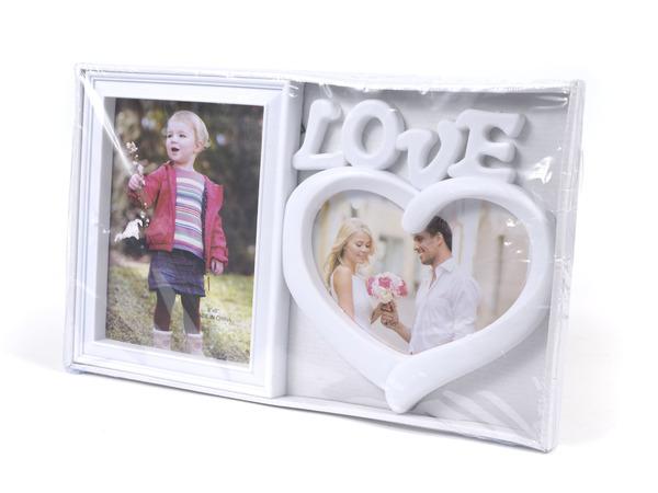 "РАМКА ДЛЯ ФОТО пластмассовая на 2 фото ""Love"" 37,5*22,5 см (арт. 10955821, код 097249)"