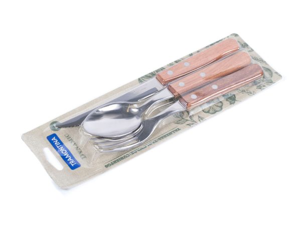 """НАБОР СТОЛОВЫХ ПРИБОРОВ металлических с деревянными ручками """"Dynamic"""" 3 пр.: нож 20, 7/11, 5 см, вилка 18, 5 см, ложка 18, 5 см (арт. 22399001)"""