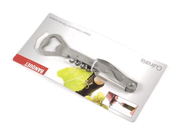 ИНСТРУМЕНТ СКЛАДНОЙ металлический 4 функции 14 см: 2 открывалки, штопор, нож (арт. 48X10, код 257913)