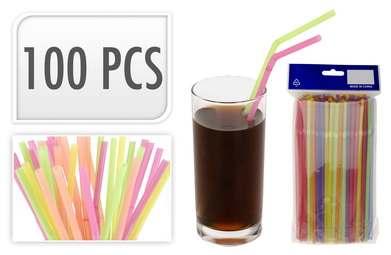 НАБОР СОЛОМОК ДЛЯ ПИТЬЯ пластмассовых 100 шт. 24 см (код 310682)