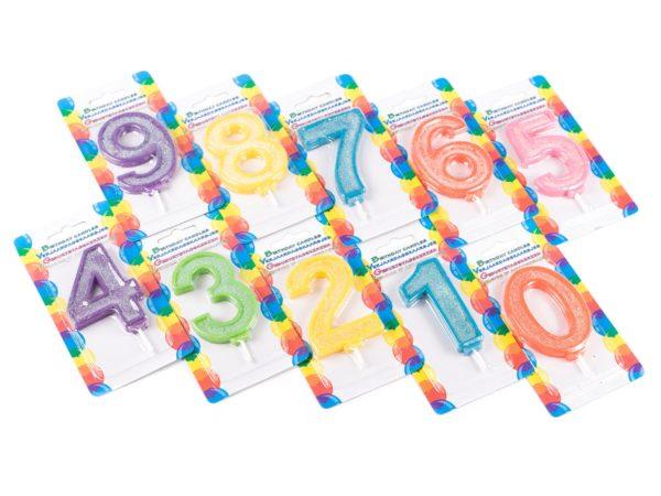 СВЕЧА для торта в виде цифры 5*9 см в ассортименте (код 511706)