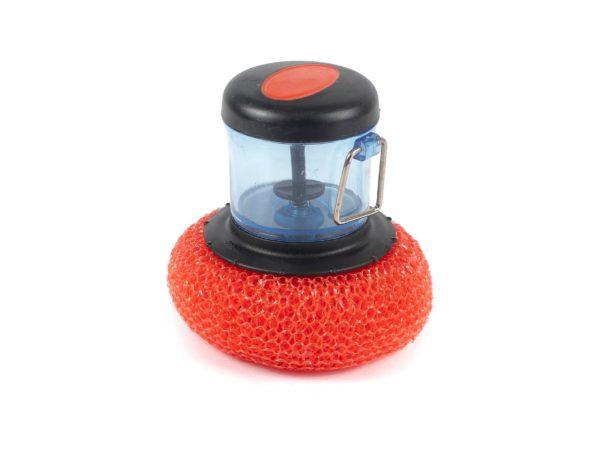 ГУБКА ДЛЯ МЫТЬЯ ПОСУДЫ пластмассовая с дозатором 8*9 см (арт. 5161-8304, код 089628)