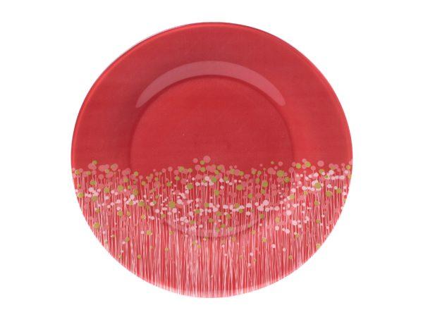 """ТАРЕЛКА МЕЛКАЯ стеклянная """"Flowerfield red"""" 25 см (арт. H2482, код 128204)"""