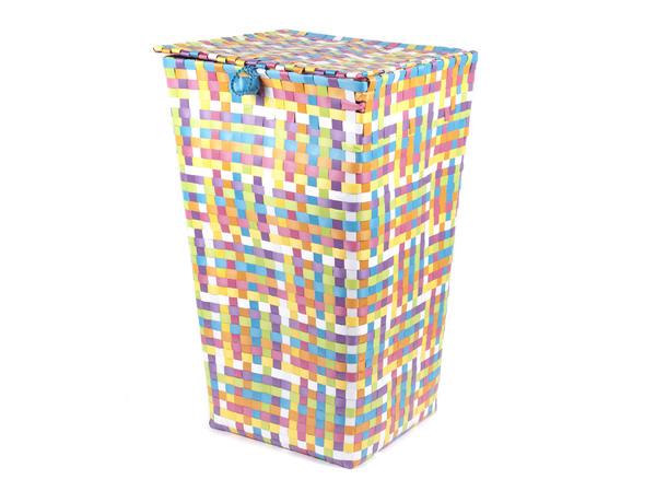 КОРЗИНА пластмассовая плетеная с крышкой 35*27*60 см (код 958168)
