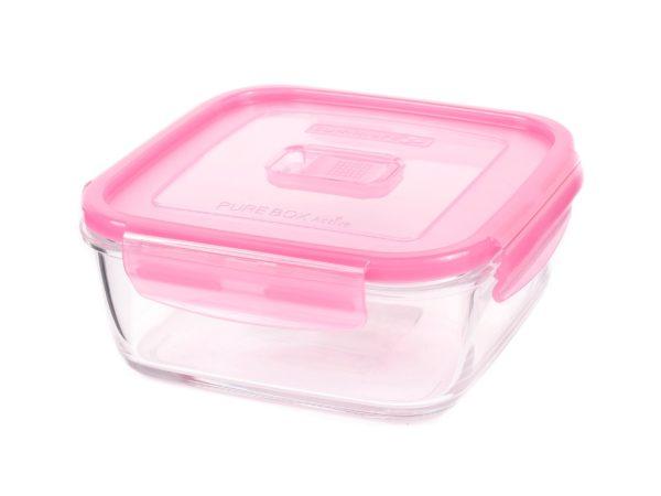 """КОНТЕЙНЕР стеклянный """"Purebox Active pink"""" 1220 мл квадратный с пластмассовой крышкой (арт. P4594, код 155293)"""