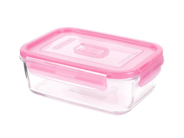 """КОНТЕЙНЕР стеклянный """"Purebox Active pink"""" 380 мл прямоугольный с пластмассовой крышкой (арт. P4588, код 155330)"""