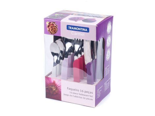 """НАБОР СТОЛОВЫХ ПРИБОРОВ металлических """"Carmel"""" с пластмассовыми ручками 16 пр.: 8 ложек 14/19,5 см, 4 вилки 19,5 см, 4 ножа 20,5 см (арт. 23499019)"""
