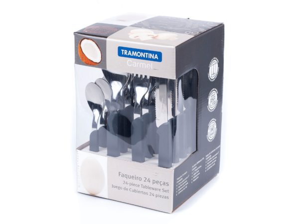 """НАБОР СТОЛОВЫХ ПРИБОРОВ металлических """"Carmel"""" с пластмассовыми ручками 24 пр.: 12 ложек 14/19,5 см, 6 вилок 19,5 см, 6 ножей 20,5 см (арт. 23499021)"""