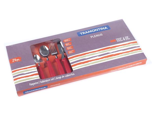 """НАБОР СТОЛОВЫХ ПРИБОРОВ металлических """"Plenus"""" с пластмассовыми ручками 24 пр.: 12 ложек 14,5/19,5 см, 6 вилок 19,5 см, 6 ножей 22 см (арт. 23498702)"""