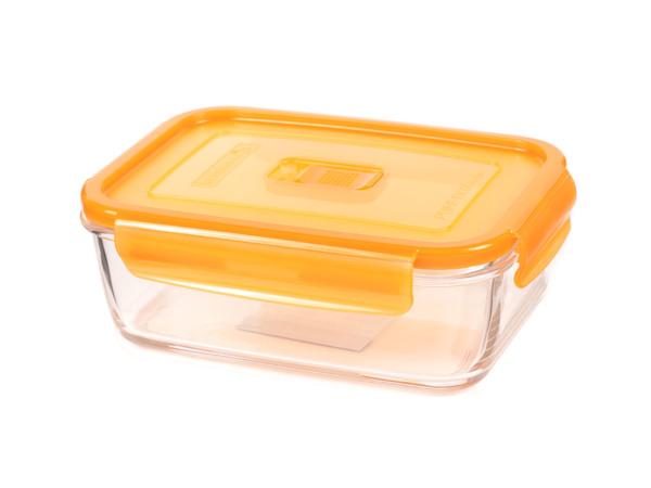 """КОНТЕЙНЕР стеклянный """"Purebox Active orange"""" 1220 мл прямоугольный с пластмассовой крышкой (арт. P4580, код 157327)"""