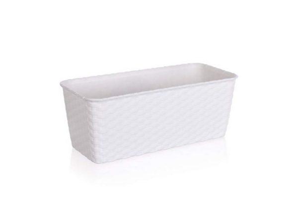 ГОРШОК ДЛЯ ЦВЕТОВ пластмассовый белый с автополивом 30*13*11 см (арт. 4773600, код 736009)