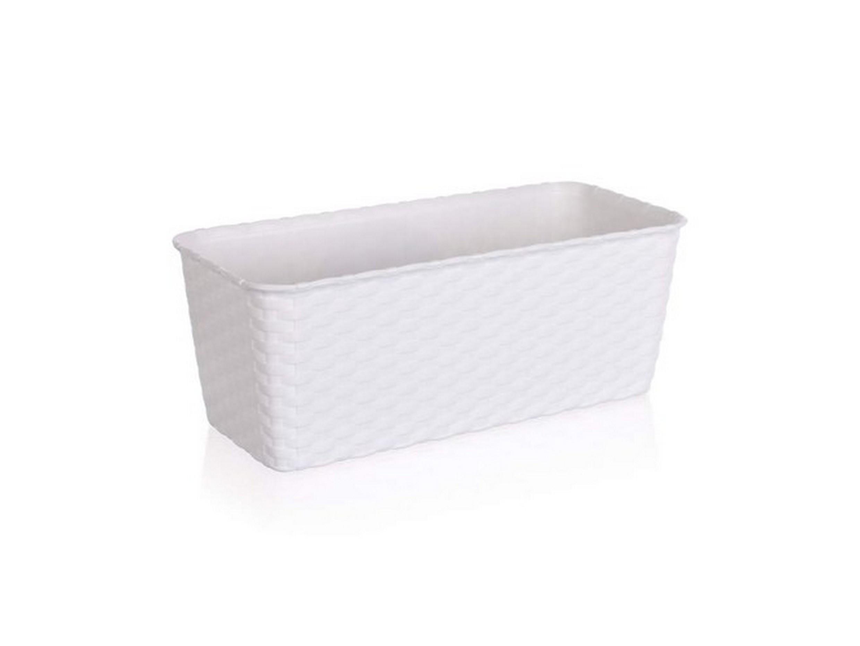 ГОРШОК ДЛЯ ЦВЕТОВ пластмассовый белый с автополивом 30*14,5 см (арт. 4775450, код 754508)