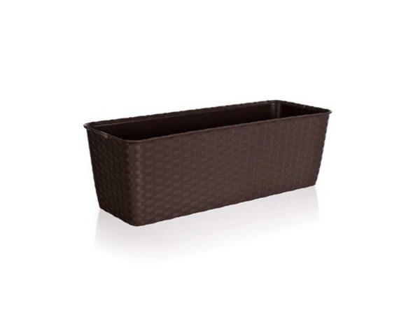 ГОРШОК ДЛЯ ЦВЕТОВ пластмассовый коричневый с автополивом 50*17*16 см (арт. 4773501, код 735019)