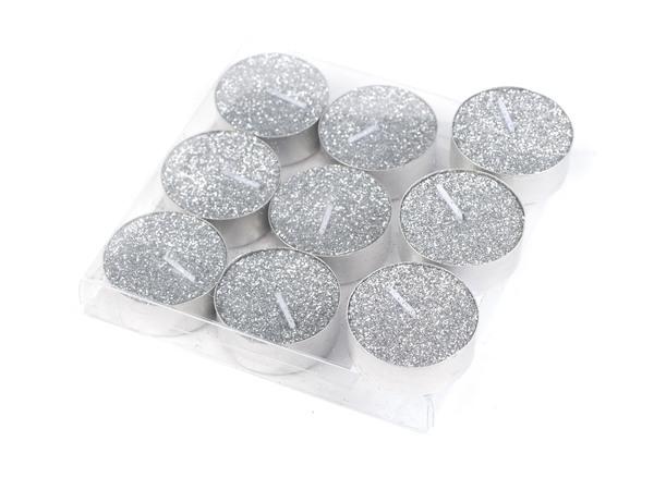 НАБОР СВЕЧЕЙ декоративный в металлической гильзе Серебрянных 9 шт. (арт. 560190/SLV)