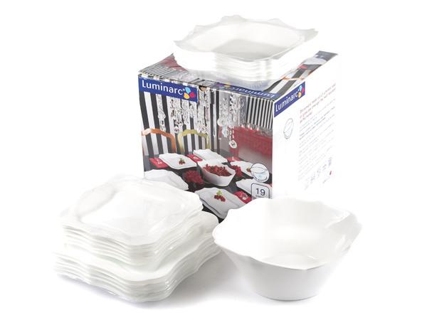 """НАБОР ПОСУДЫ стеклокерамический """"Authentic White"""" 19 пр.: 18 тарелок 20,5/22/26 см, салатник 24 см (арт. E6197, код 131082)"""