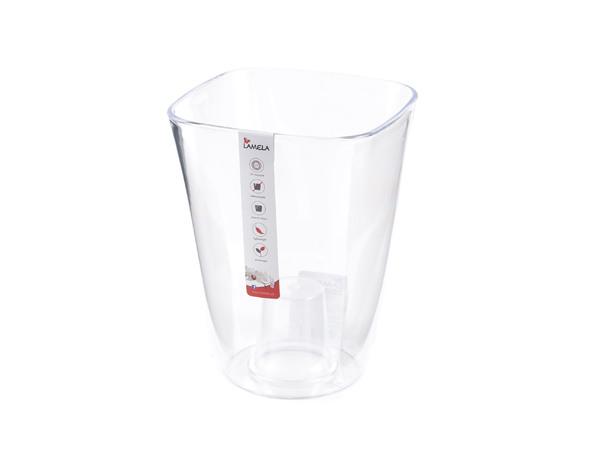 """КАШПО пластмассовое """"Flora"""" прозрачное 12,5*12,5*17 см (арт. LA378-59, код 593781)"""