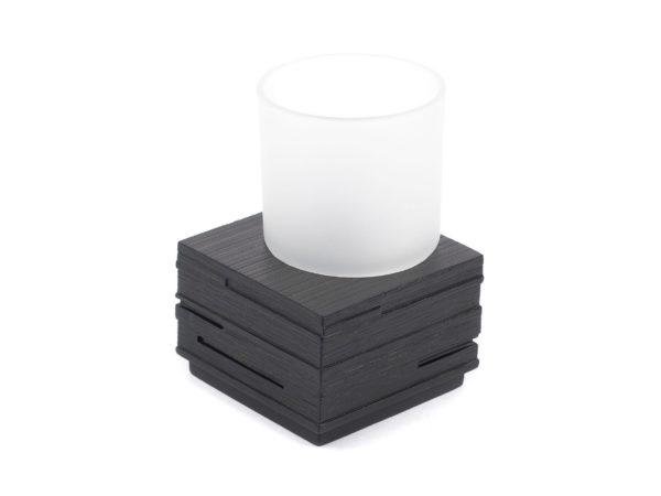 """СТАКАН ТУАЛЕТНЫЙ стеклянный в подставке из полирезина """"Brick Black"""" 8,3*8,3*9,5 см (арт. 22150110, код 221847)"""
