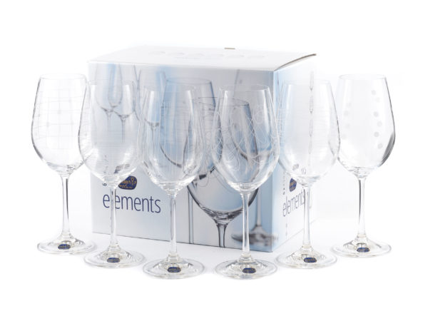"НАБОР БОКАЛОВ ДЛЯ ВИНА стеклянных декор. ""Elements"" 6 шт. 450 мл (арт. 40729/379712/450)"