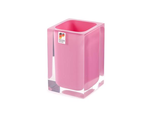 """СТАКАН ТУАЛЕТНЫЙ полирезин """"Colours Pink"""" 7*7*11 см (арт. 22280102, код 224121)"""
