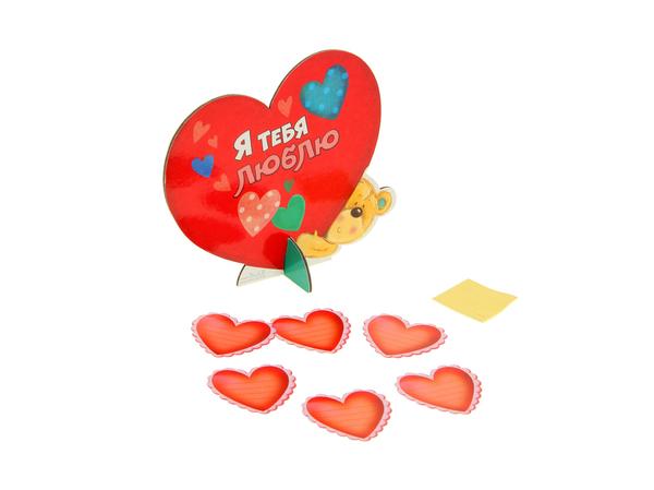 """ОТКРЫТКА картонная с сердечками """"Мишка"""" 18*16 см (арт. 10823436, код 810002)"""