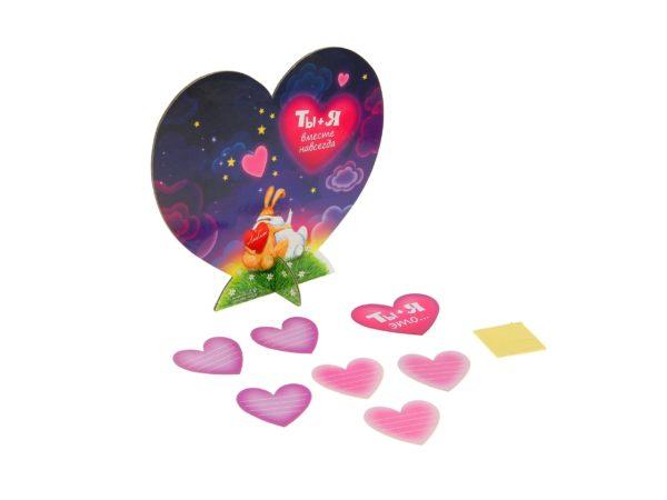 """ОТКРЫТКА картонная с сердечками """"Парочка"""" 18*16 см (арт. 10823438, код 830000)"""