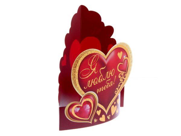 "ОТКРЫТКА-ВАЛЕНТИНКА картонная ""Я люблю тебя"" 14*16 см (арт. 10993234, код 505065)"