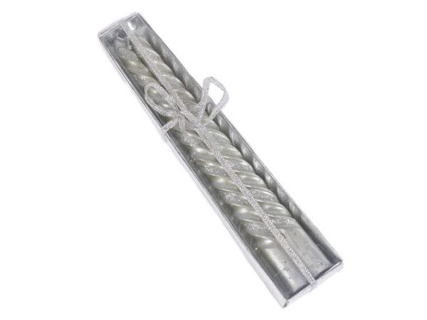 НАБОР СВЕЧЕЙ декоративных серебро 2 шт. 20 см (арт. 10718022, код 950002)