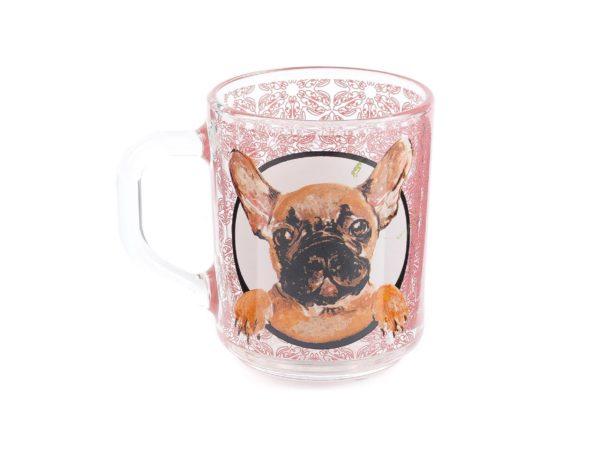 """КРУЖКА стеклянная """"Французская собака"""" 200 мл (арт. 07с1335ДЗФранцСобака, код 159550)"""