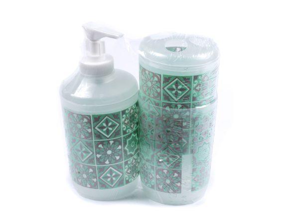 НАБОР ДЛЯ ВАННОЙ пластмассовый 3 пр. : дозатор для жидкого мыла, подставка для зубных щеток, стакан (арт. 58AYH051-1, код 153015)