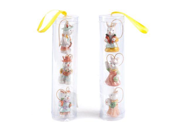 """НАБОР СТАТУЭТОК пластмассовых подвесных """"Кролики"""" 3шт. 2,5*5 см (код 598288)"""