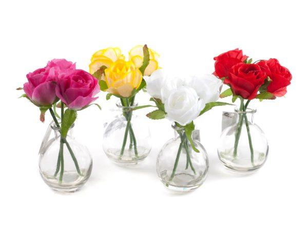 ВАЗА стеклянная декоративная с искусственным цветком 8*6,5 см (код 903389)