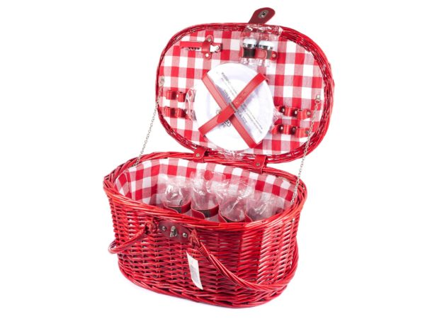 КОРЗИНА ДЛЯ ПИКНИКА плетеная с набором посуды пластмас. на 4 персоны: 4 бокала, 4 тарелки, 4 ложки, 4 вилки, 4 ножа, солонка, перечница, штопор, 4 салфетки текст. (арт. 10794616, код 461603)