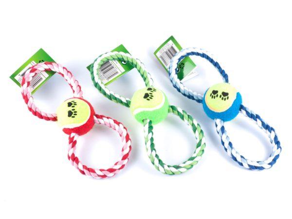 ИГРУШКА ДЛЯ СОБАКИ веревочная с мячом 25 см (код 983370)