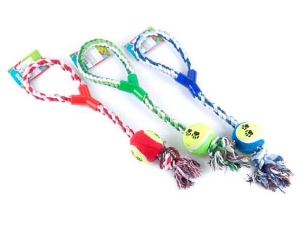 ИГРУШКА ДЛЯ СОБАКИ веревочная с мячом 45 см (код 983318)