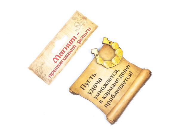 """ФИГУРКА деревянная на магните """"Пусть удача умножается"""" 8,5*8,5 см (арт. 10372983, код 094639)"""