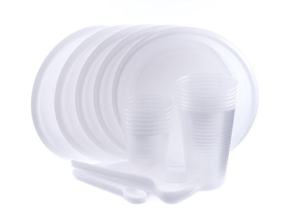 НАБОР ПОСУДЫ ОДНОРАЗОВОЙ пластмассовой 30 пр.: 6 тарелок 17 см, 12 стаканов 100/200 мл, 6 вилок, 6 ложек кофейных (арт. BB101596, код 161034)