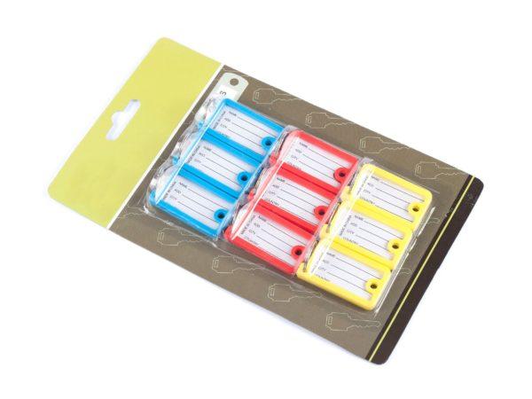 НАБОР БРЕЛОКОВ ДЛЯ КЛЮЧЕЙ пластмассовых с окошком для адреса 9 шт. 4,5*2,5 см (код 624865)