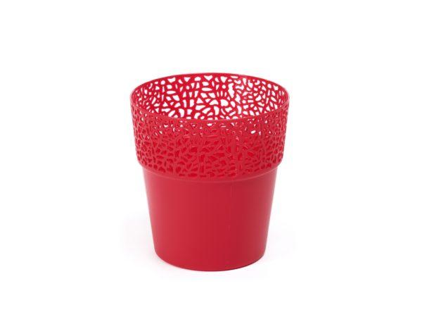 """КАШПО пластмассовое """"Rosa"""" красное 11,5 см (арт. LA655-01, код 016556)"""