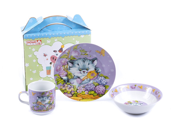 НАБОР ДЛЯ ЗАВТРАКА фарфоровый детский 3 пр.: тарелка 18 см, салатник 15,3 см, чашка 230 мл (арт. LX-3PCS-C007)