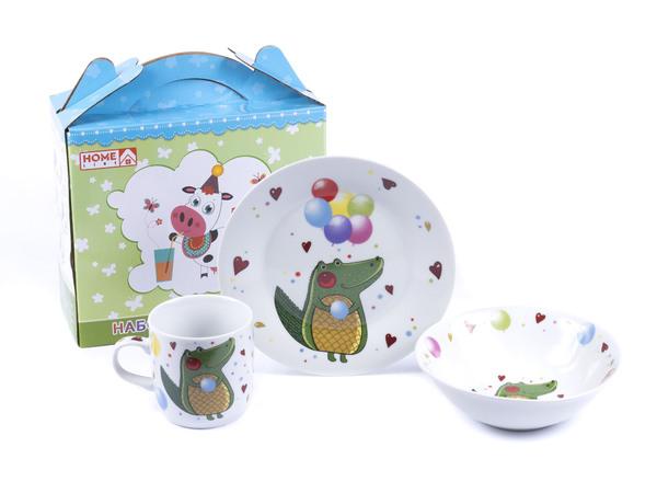 НАБОР ДЛЯ ЗАВТРАКА фарфоровый детский 3 пр.: тарелка 18 см, салатник 15,3 см, чашка 230 мл (арт. LX-3PCS-C506)