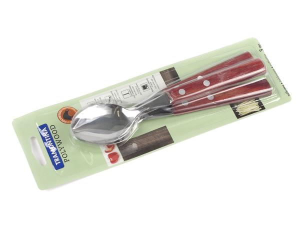 НАБОР ЛОЖЕК металлических 3 шт. с деревянными ручками 19,5 см (арт. 21103370)