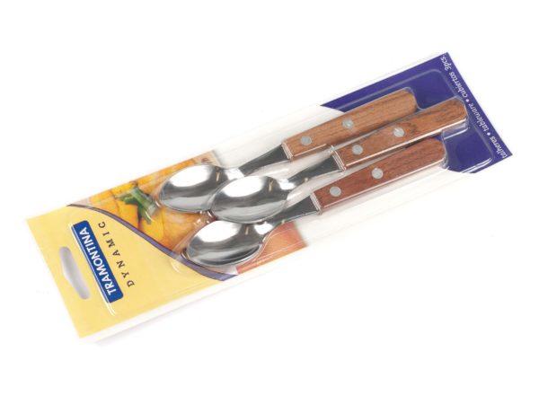 НАБОР ЛОЖЕК металлических чайных 3 шт. с деревянными ручками 13,5 см (арт. 22307300)