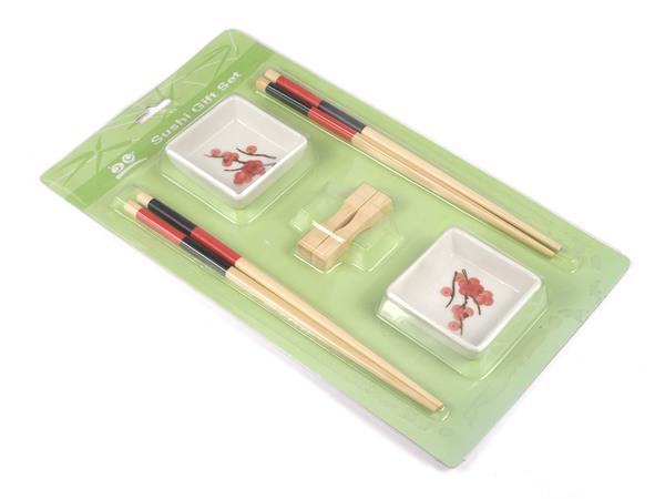 НАБОР ДЛЯ СУШИ 6 пр.: 2 салатника керам., 2 пары палочек для еды, 2 подставки для палочек (арт. MY082571, код 121223)