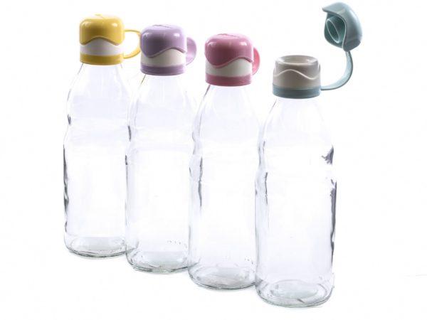 БУТЫЛКА стеклянная для питья с пластмассовой крышкой 1000 мл (арт. M-277, код 832777)