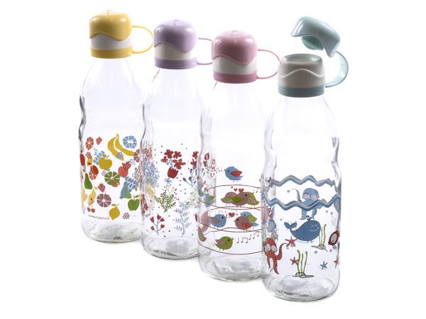 БУТЫЛКА стеклянная для питья с пластмассовой крышкой 1000 мл (арт. M-283, код 832838)