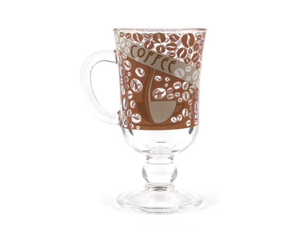 """КРУЖКА стеклянная """"Кофе №3"""" 250 мл (арт. 08с1405ДЗКофеЗ, код 027972)"""