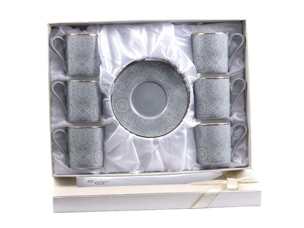 НАБОР ЧАШЕК С БЛЮДЦАМИ керамический 12 пр. 90 мл (арт. 146-30008, код 174515)